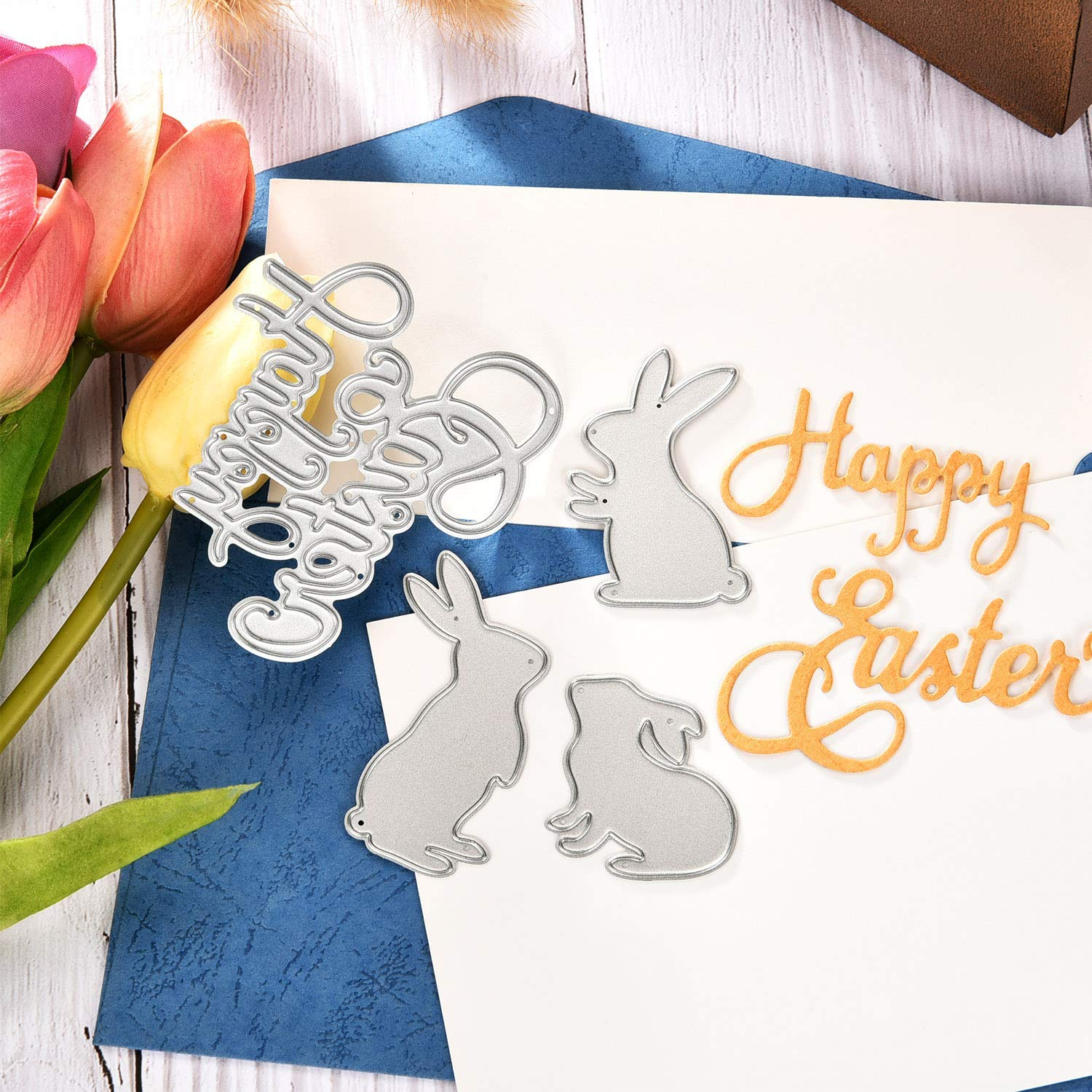 Style 5 TuoShei Easter Die Cuts for Card Making Happy Easter Letter Cutting Dies and Bunny Rabbit Grass Metal Stencil Template for DIY Scrapbook Album Paper Card Craft Easter Decoration