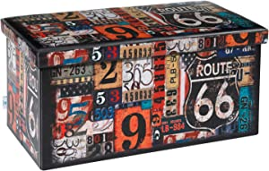 "B FSOBEIIALEO Folding Storage Ottoman Bench with Faux Leather Footrest Seat, Coffee Table 30""x15""x15"""