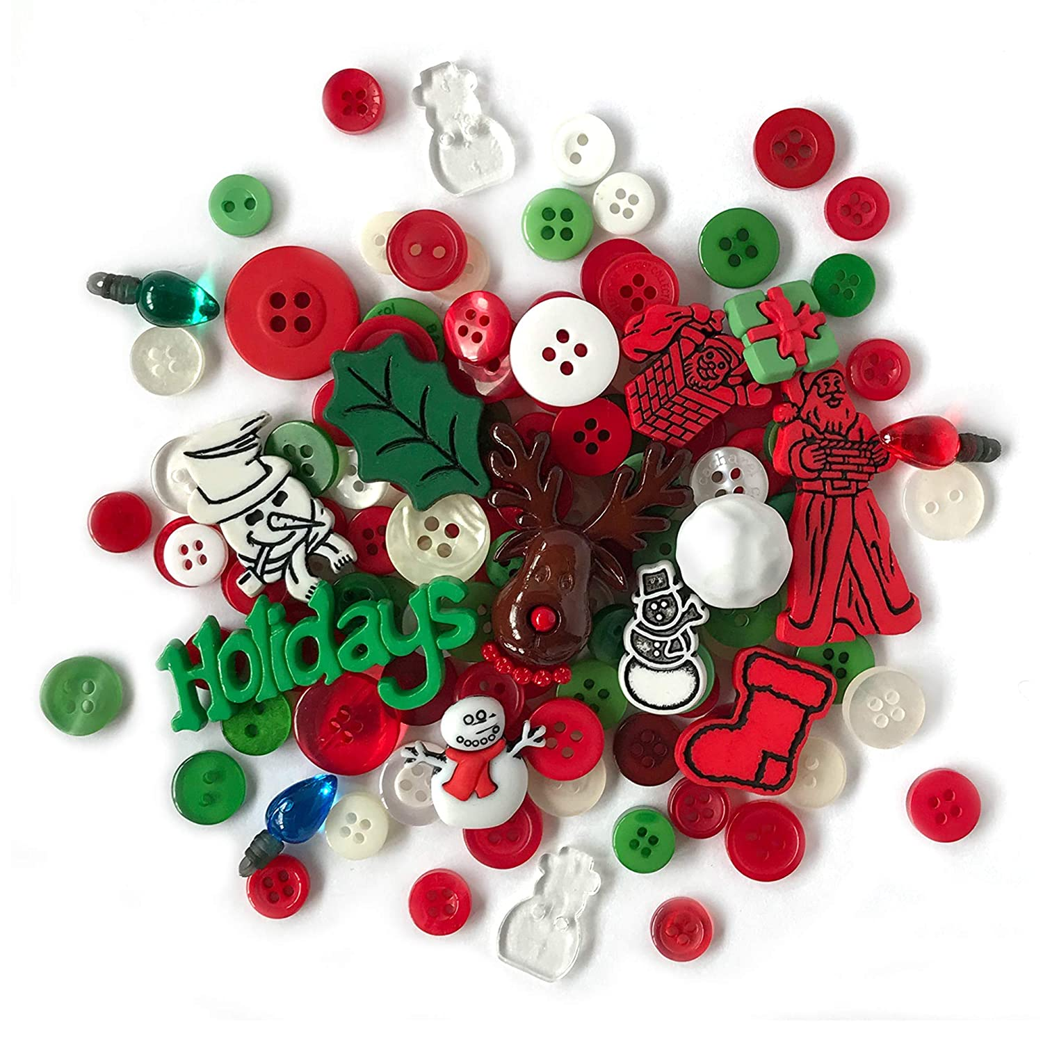 Christmas Themes.Buttons Galore And More Collection Round Novelty Buttons Embellishments Based On Variety Of Themes Holidays And Seasons For Diy Crafts
