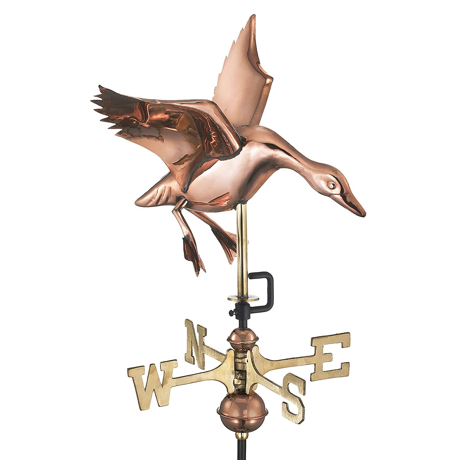 Good Directions Landing Duck Cottage Weathervane with Roof Mount, Pure Copper 804PR