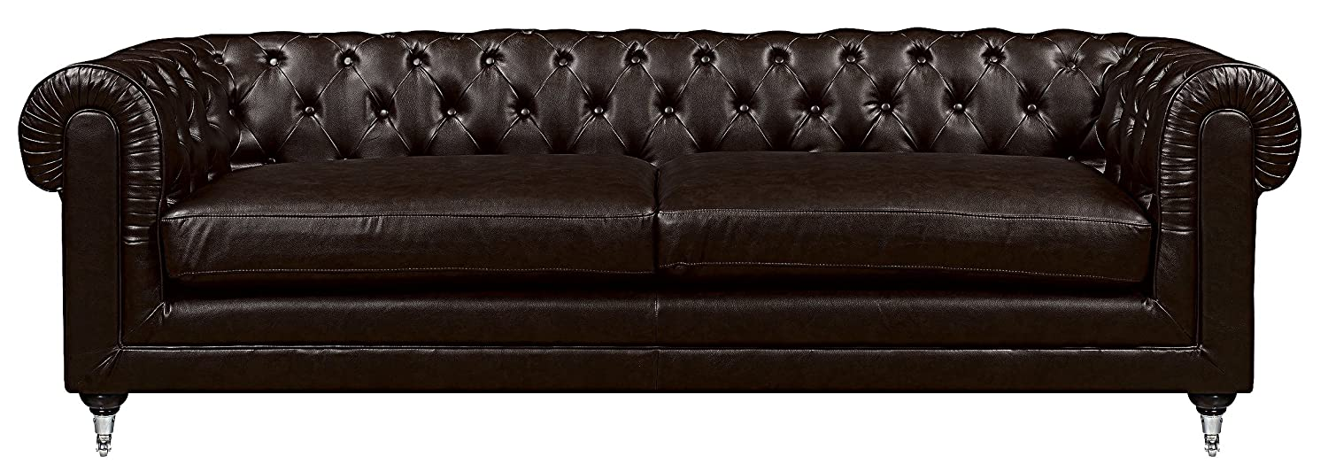 Elle Decor Amery Tufted Sofa, Bonded Leather