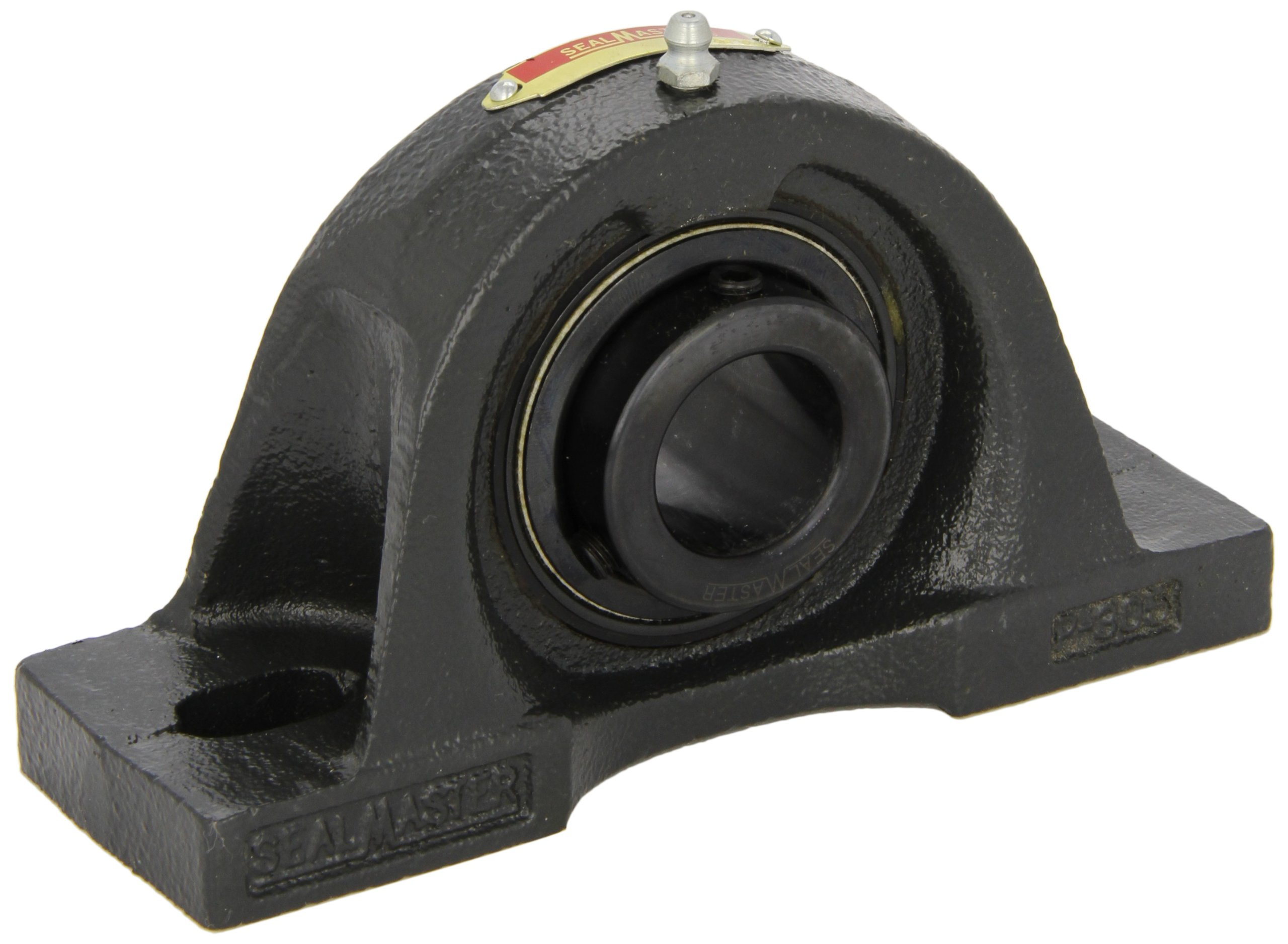 Sealmaster MP-39 Pillow Block Ball Bearing, Non-Expansion Type, Medium-Duty, Regreasable, Setscrew Locking Collar, Felt Seals, Cast Iron Housing, 2-7/16'' Bore, 3'' Base to Center Height, 8'' Bolt Hole Spacing Width, ±2 degrees Misalignment Angle