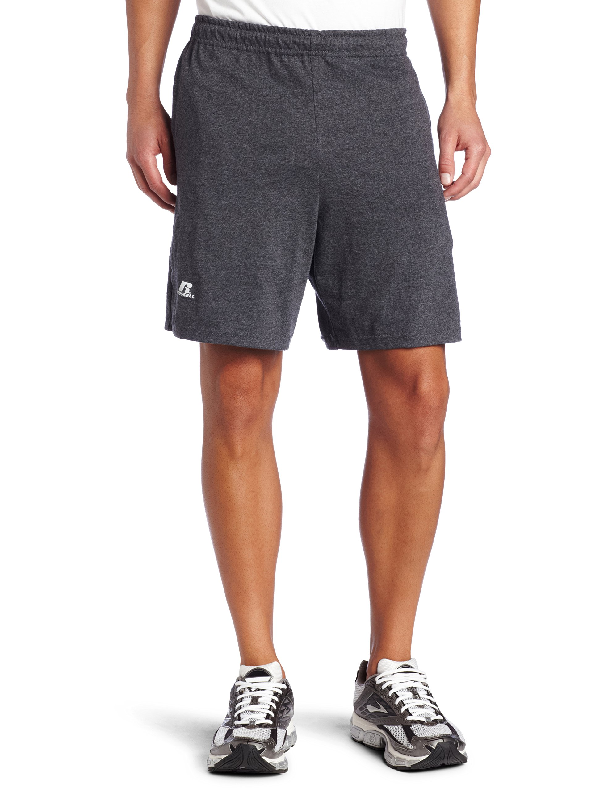 Russell Athletic Men's Cotton Baseline Short with Pockets, Black Heather, Small