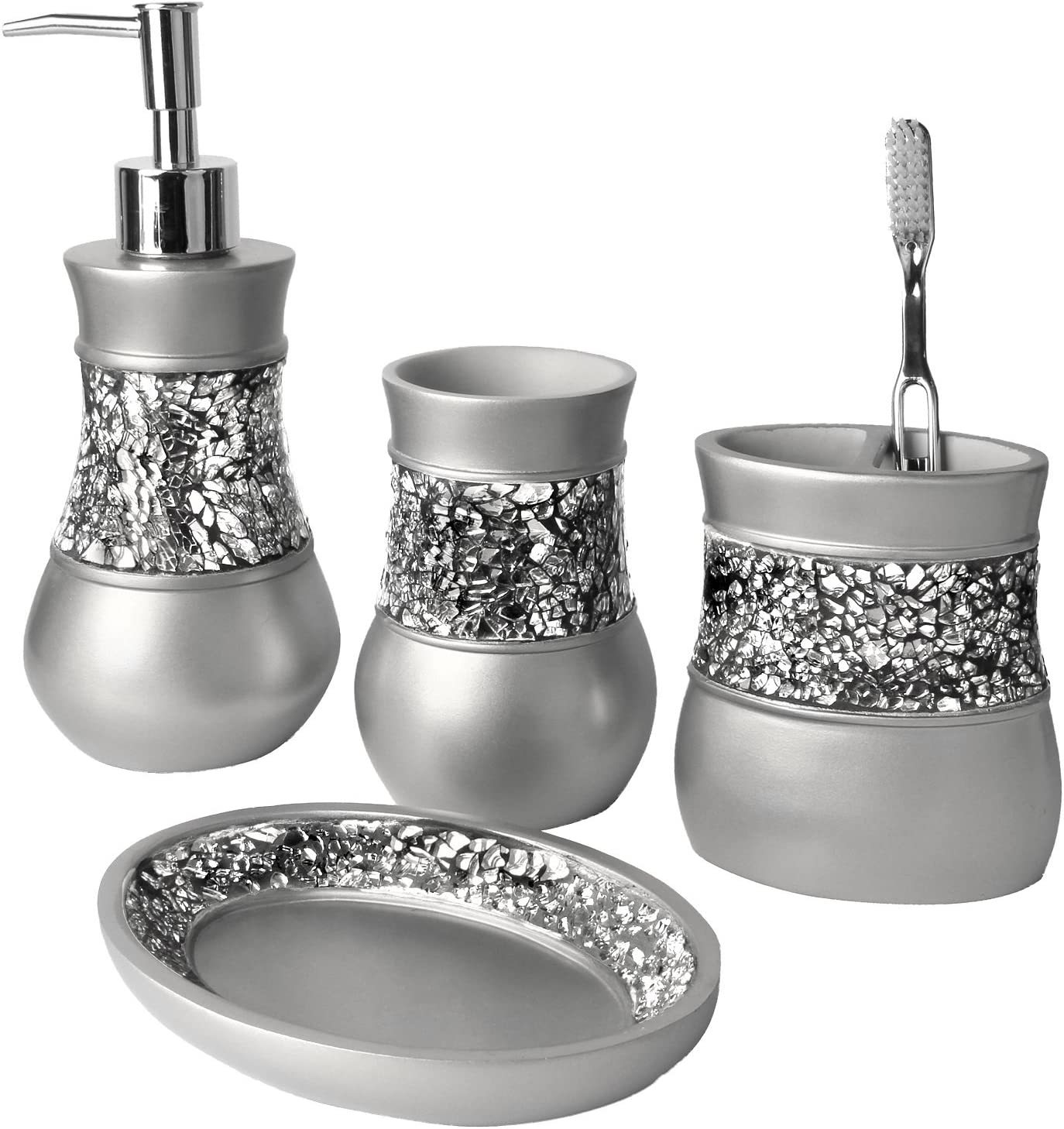 Amazon Com Creative Scents Gray Bathroom Accessories Set 4 Piece Bathroom Decor Set For Home Bath Restroom Set Features Soap Dispenser Toothbrush Holder Tumbler Soap Dish Bling Silver Mosaic Glass Home