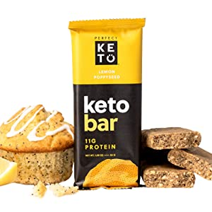 Perfect Keto Bars - The Cleanest Keto Snacks with Collagen and MCT. No Sugar Added, Keto Diet Friendly - 10g Net Carbs, 18g Fat,11g Protein - Keto Diet Food Dessert (Lemon Poppyseed, 12 Bars)