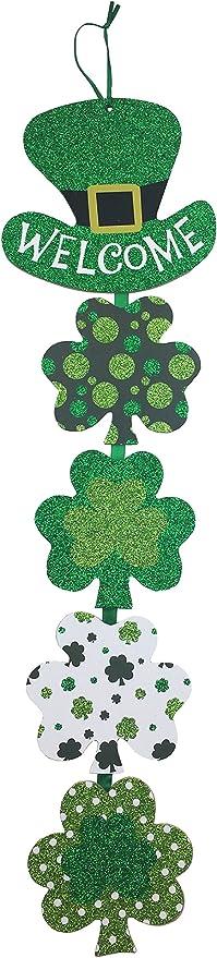 Hanging Wood Slice Seasonal Tree Trim Home Decor Present Tags Glitter Shamrocks Saint Patricks Day St Patty Ornament Shamrock St Patricks Day Decoration Irish Gifts Mini Wood Sign