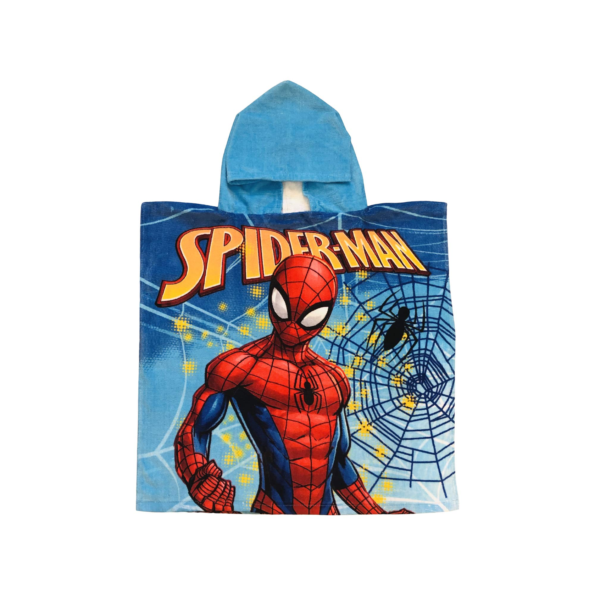 Spiderman Marvel Spiderweb with Black Spider Soft Blue Hooded Poncho Towel