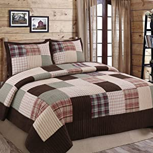 Brody Brown Plaid Stripe Patchwork 3-Piece Cotton Reversible King Quilt Bedding Set by Cozy Line Home Fashions