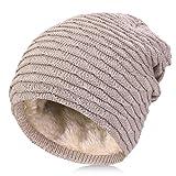 Vbiger Bonnet En Tricot Bonnet Rayures Bonnet Épais Chapeau D'Hiver Pour Homme