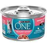 Purina ONE Grain Free, Natural Pate Wet Kitten Food, Healthy Kitten Chicken & Salmon Recipe - (24) 3 oz. Pull-Top Cans