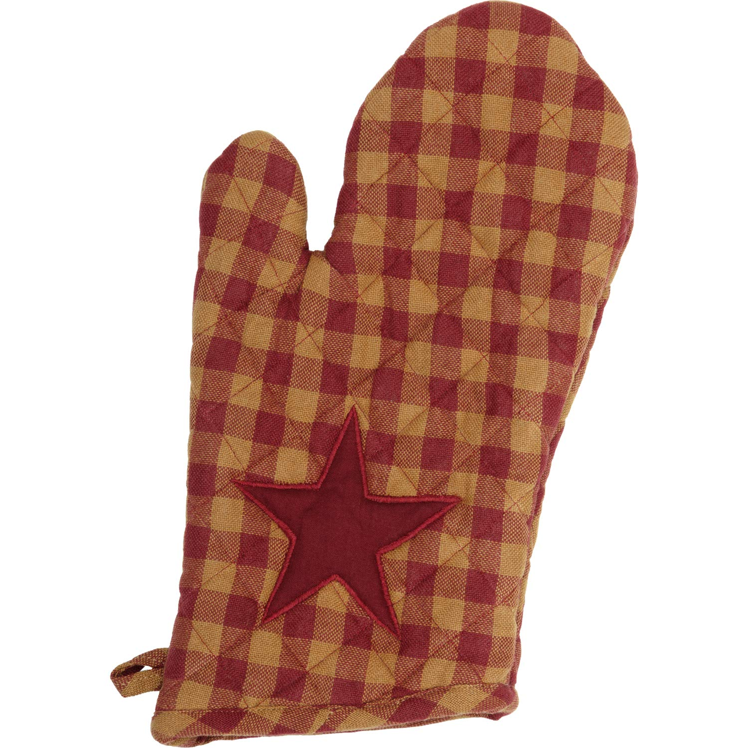 VHC Brands Primitive Tabletop Kitchen Cody Fabric Loop Cotton Appliqued Star Oven Mitt, Burgundy Red