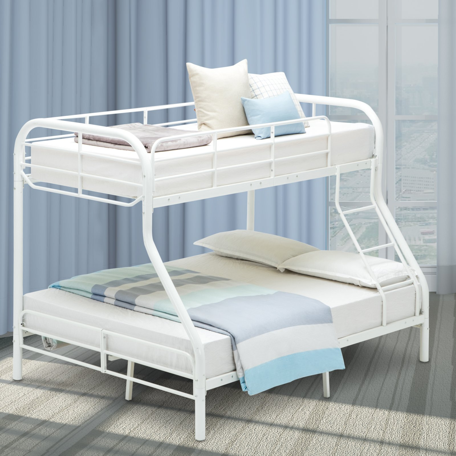 LAGRIMA Twin Over Full Metal Sturdy Bunk Bed Frame, with Inclined Ladder, Safety Rails for Kids Teens Adult, Space-Saving Design - White