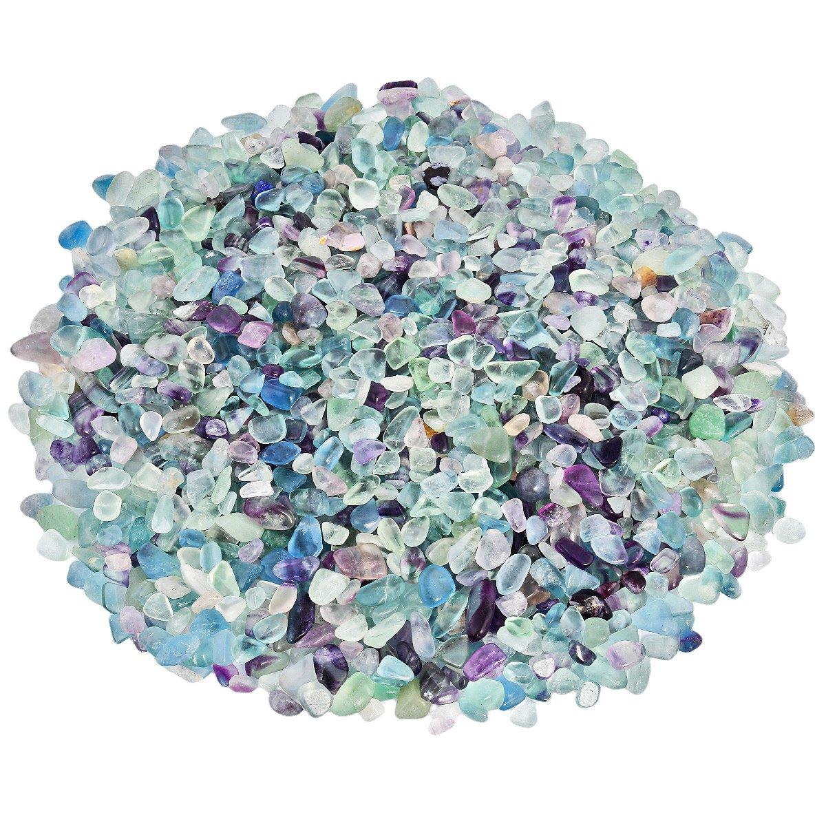 SUNYIK Fluorite Tumbled Chips Stone Crushed Crystal Quartz Pieces Irregular Shaped Stones 1pound(about 460 gram) by SUNYIK