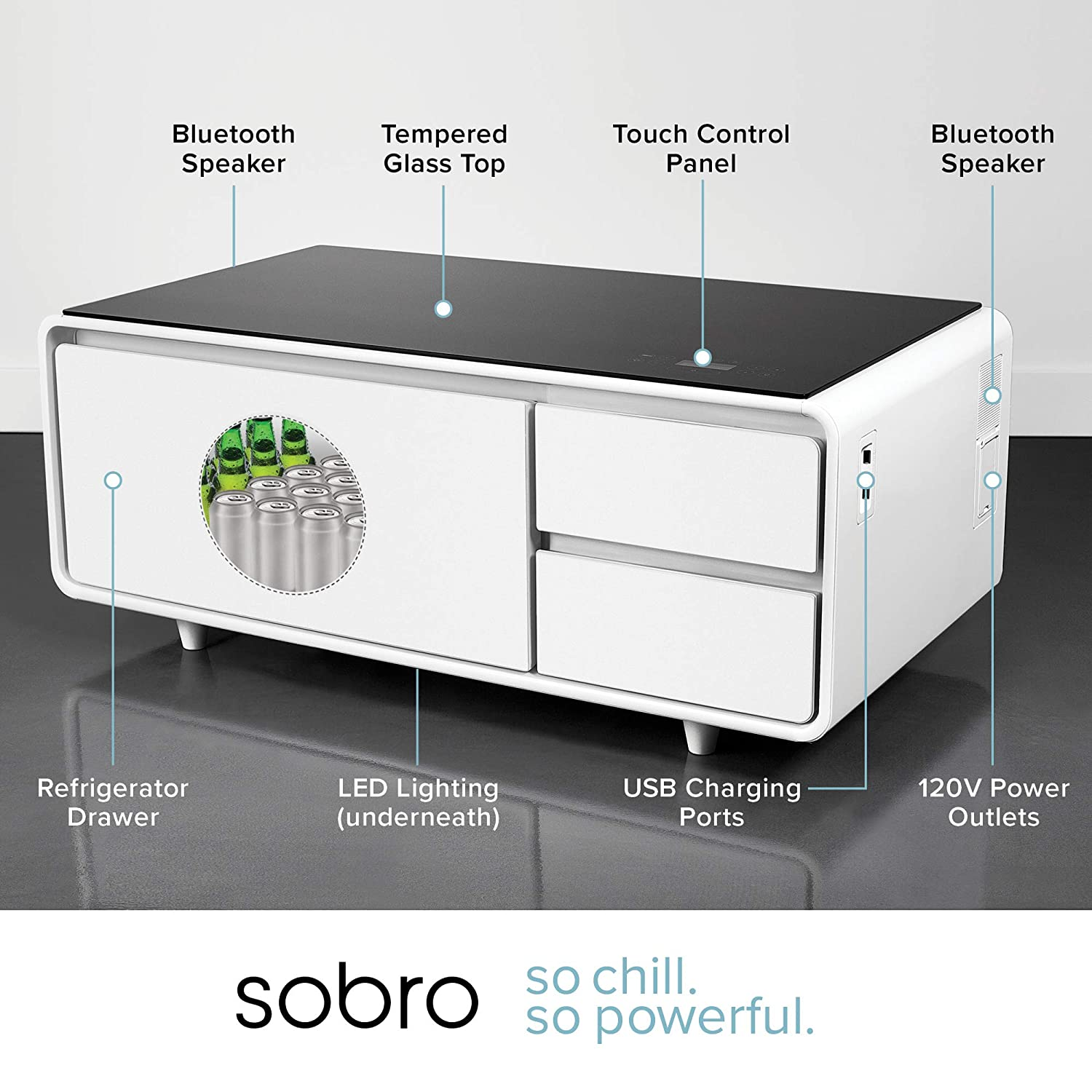 Sobro SOCTB300WHBK Coffee Table with Refrigerator Drawer Bluetooth Speakers, LED Lights, USB Charging Ports for Tablets, Laptops, or a Cell Phone - ...
