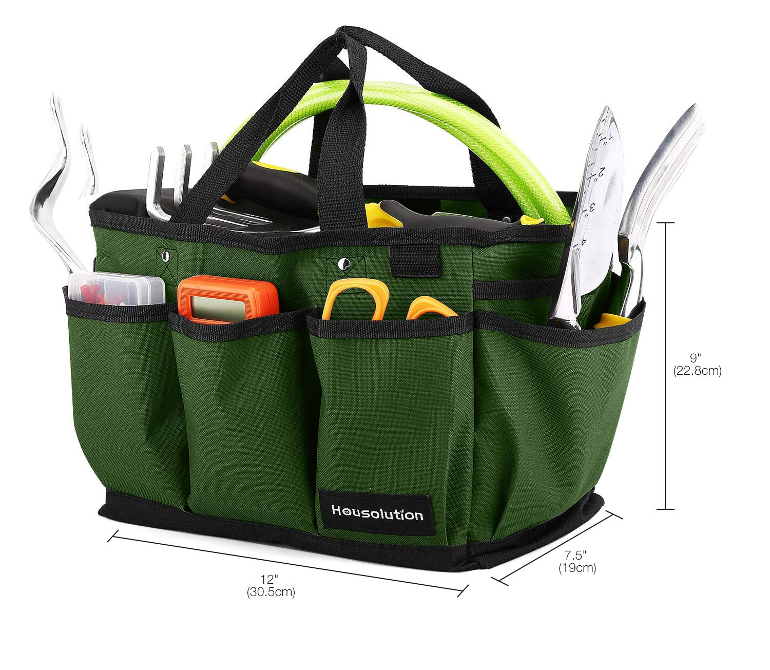 Dark Green Wear-Resistant /& Reusable 14 Inch Deluxe Garden Tool Storage Bag and Home Organizer with Pockets Housolution Gardening Tote Bag