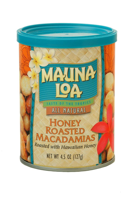 Mauna Loa Premium Hawaiian Roasted Macadamia Nuts, Honey Roasted Flavor, 4.5 Oz Can (Pack of 1)