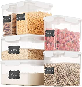 Airtight Food Storage Containers With Lids Free Plastic Kitchen Pantry Storage Containers - Dry Food Storage Containers Set For Pasta, Cereal, Flour, Sugar, Coffee, Rice, Nuts, Snacks. (White)