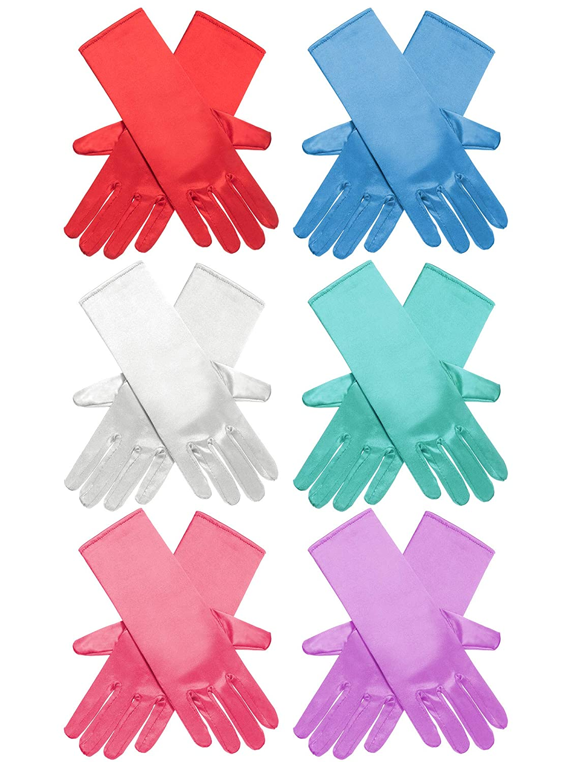 a8c0663cc0 Amazon.com  Zhanmai 6 Pairs Princess Dress Up Long Gloves Shiny Silky Satin  Gloves for Kids Party