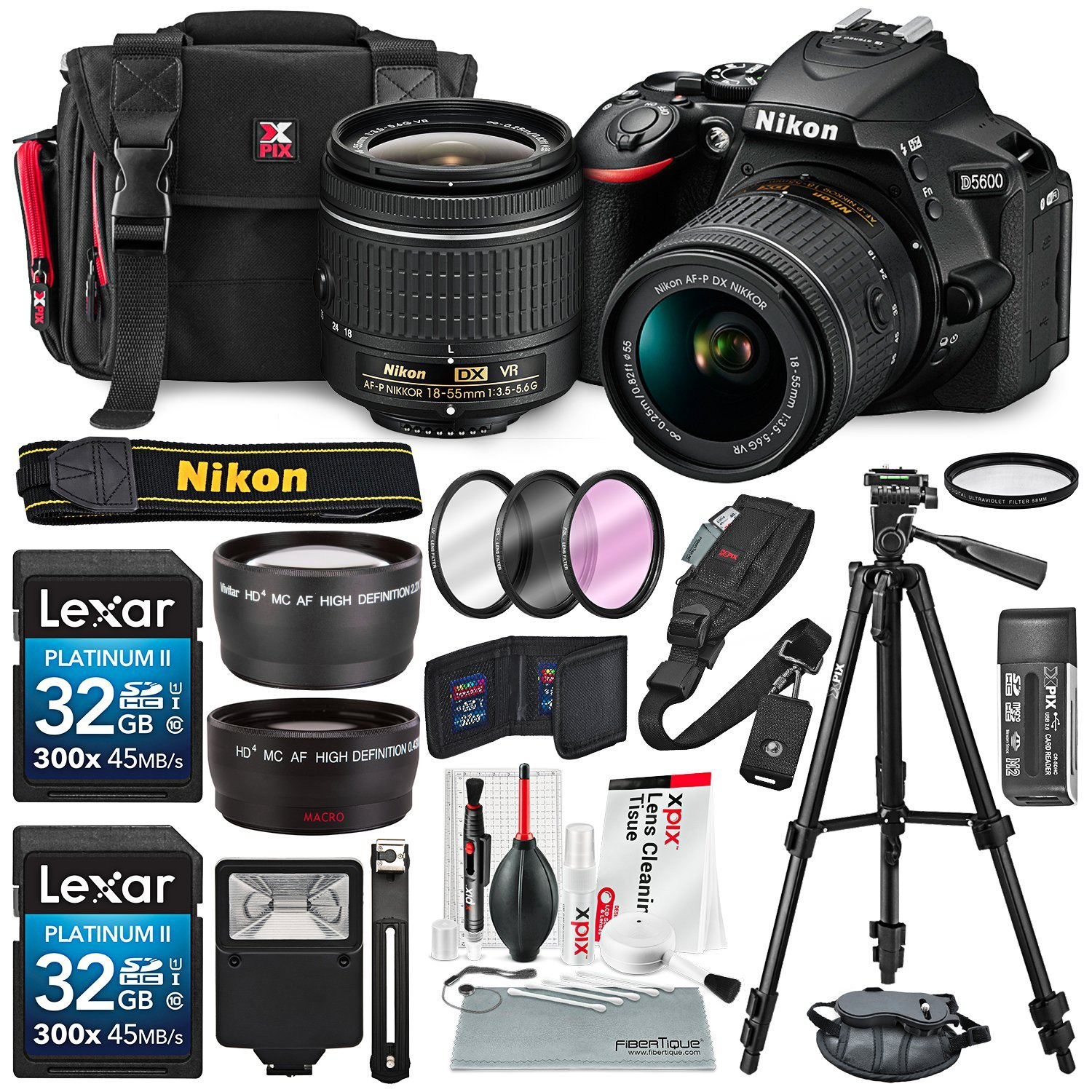 Nikon D5600 DSLR Camera with 18-55mm Lens W/ 2x 32GB Memory Card + Filters + 55mm Telephoto & Wide-Angle, Quick Release Shoulder Strap + Xpix Lens Handling Accessories with Deluxe Bundle by Photo Savings
