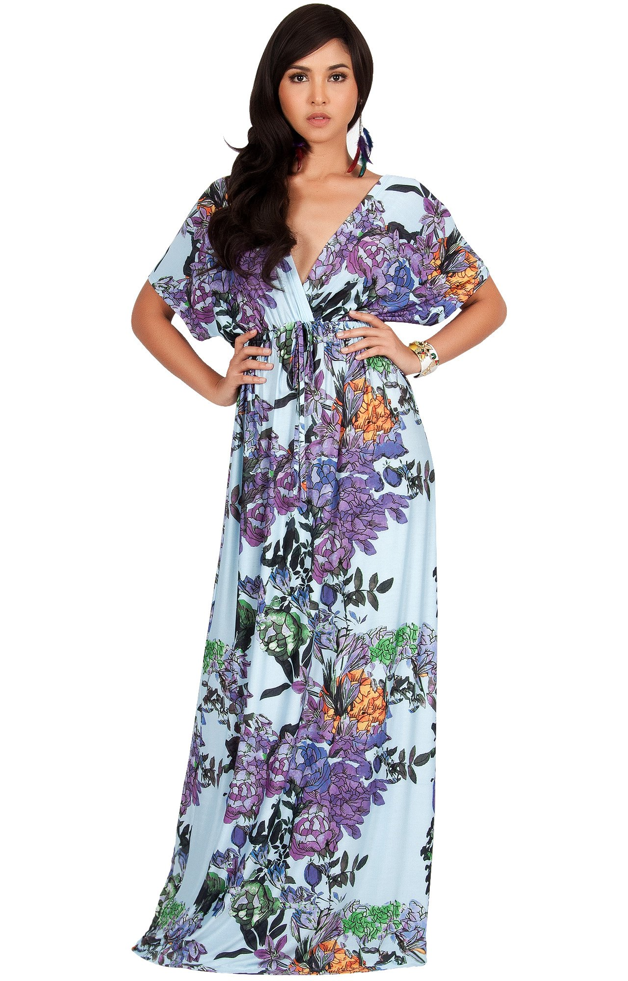 125505d391 KOH KOH Plus Size Women Long Kimono Sleeve Short Sleeves V-Neck Vintage  Floral Print Summer Hawaiian Casual Cocktail Sundress Sun Gown Gowns Maxi  Dresses