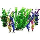 PietyPet Aquarium Wasserpflanzen, 7 Stück Großen Kunststoff Pflanzen Aquarium Aquariumpflanze Fisch Tank Dekoration