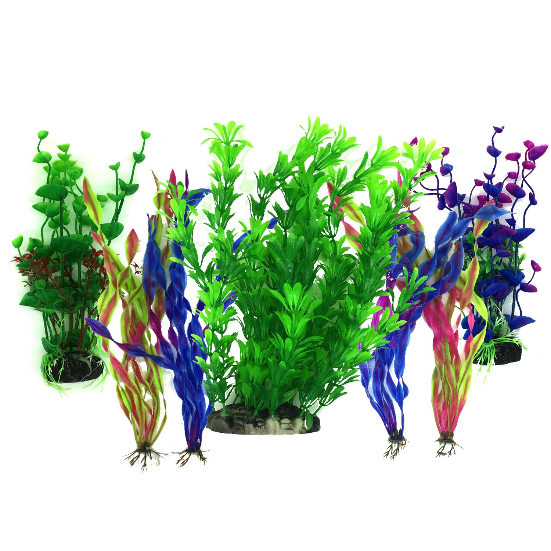 Artificial Aquatic Plants, PietyPet 7 Pcs Large Aquarium Plants Plastic Fish Tank Decorations, Vivid Simulation Plant Creature Aquarium Landscape: ...