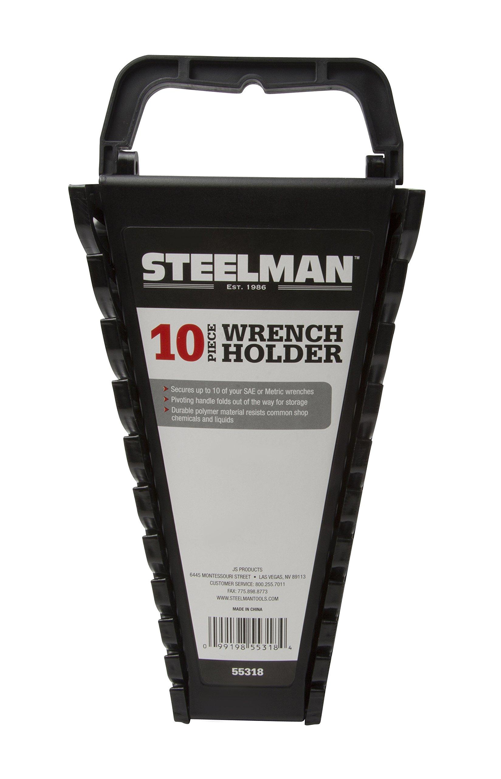 Steelman 55318 Universal 10-Tool Wrench Holder, Black