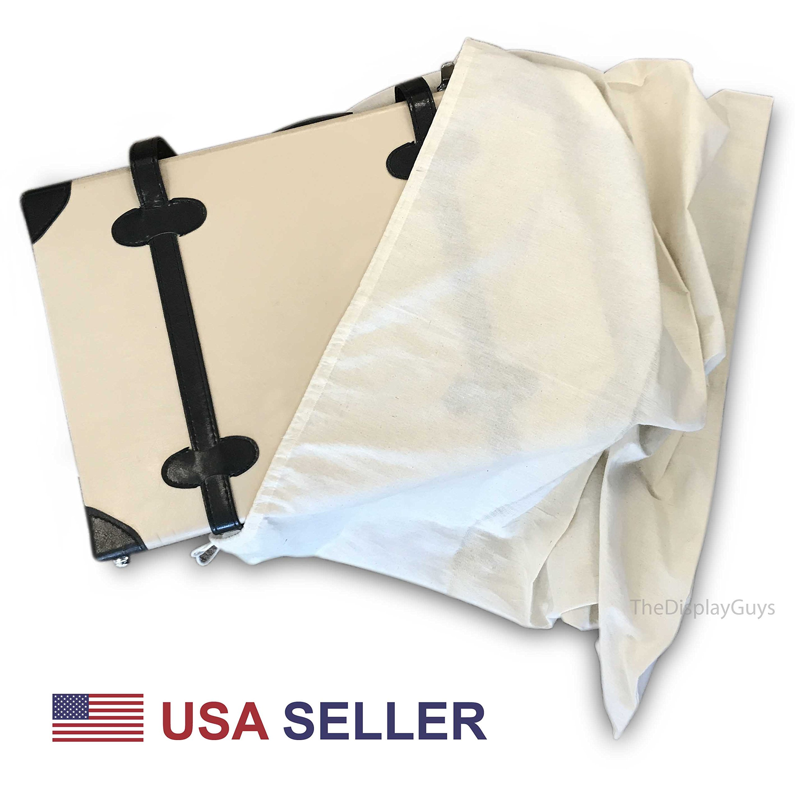 2 Pack 29''x29'' Extra Thick Cotton Muslin Laundry Dust Cover Bags with Drawstring Natural Color