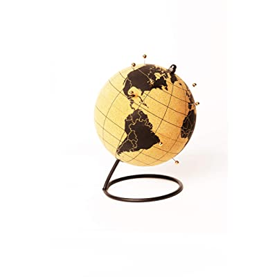 ITA's - Cork Globe Travel Tracker with Gold Push Pins |Stainless Steel Base | Great for Mapping Travels | Personalized World Map Tracker | Vacation Map | Push Pin World Map | (Black/Silver Pins): Office Products