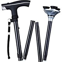 """Make it fun Walking Stick with 6"""" Cushion Handle and LED Light, Adjustable Cane with Triple Pod Pivotal Base, Includes Carrying Bag, Folds in Seconds (Black)"""