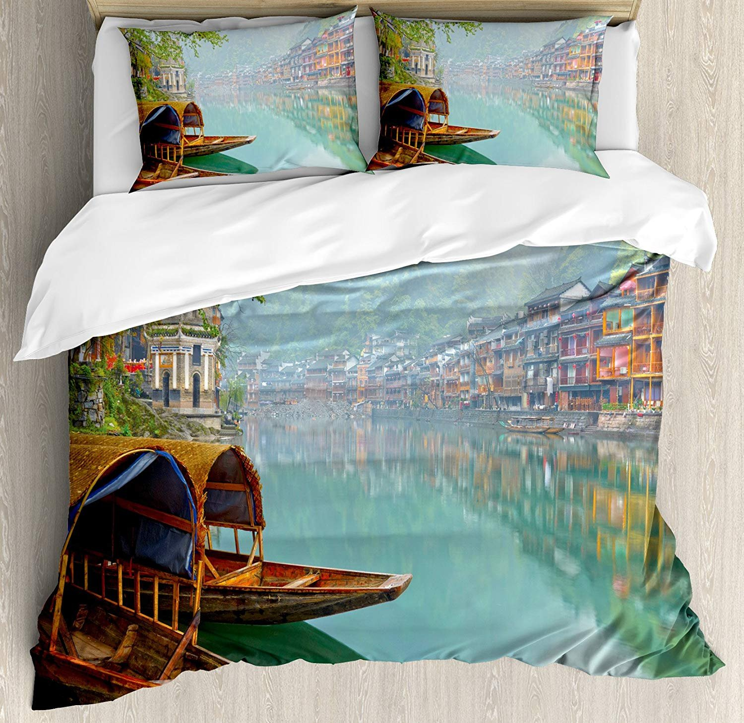 Full Size Asian 3 PCS Duvet Cover Set, Old Chinese Suburbs Lake Canal with Wood Boats Foggy Asian Eastern Rural Scene Art, Bedding Set Bedspread for Children/Teens/Adults/Kids, Multicolor