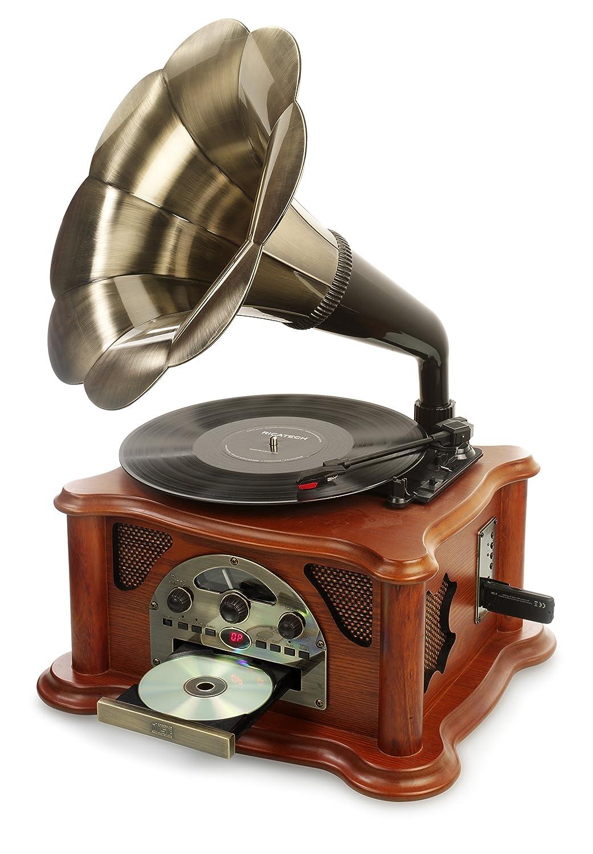 Ricatech RMC350 Legend Music Centre 5 en 1 con trompeta vintage | Tocadisco de 3 velocidades y altavoces incorporados, reproductor de CD, ranura USB y SD