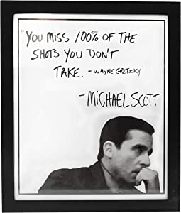 Michael Scott The Office Motivational Quote Frame Wall Art Decor 10x12 The Office Gift - You Miss 100% Of The Shots You Dont Take - The Office Merchandise - The office Wall Decor for Home and Office