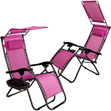 Set Of 2 Zero Gravity Outdoor Lounge Chairs W/ Sunshade +Cup Holder With  Mobile