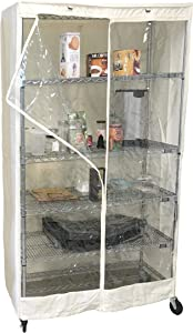"Storage Shelving unit cover, fits racks 36""Wx18""Dx72""H one side see through PVC, Off-White color, Cover Only"