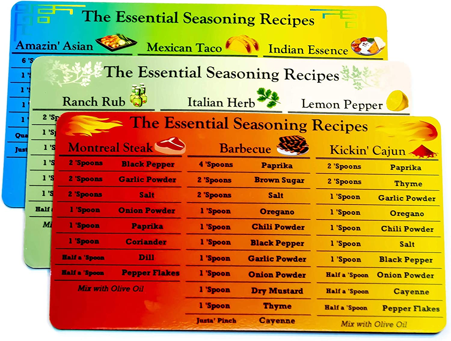 Seasoning Recipe Magnets - Set of 3 contains 9 Spice Rub recipes - Easy recipes for BBQ Rub, Cajun Seasoning, Montreal Steak and more!