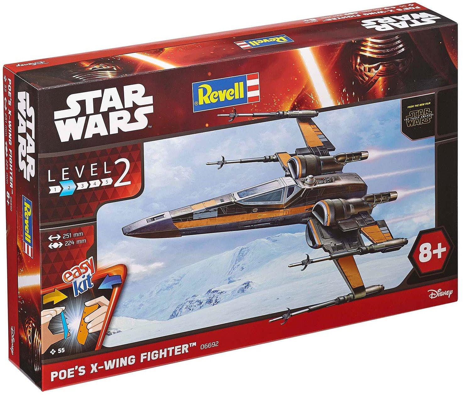 Revell 06692 Modellbausatz Star Wars Poe´s X-wing Fighter im Maßstab 1:50, Level 2, originalgetreue Nachbildung mit vielen Details, Steckmechanismus, mit vorbemalten und vordekorierten Teilen Revell easykit Revell_06692