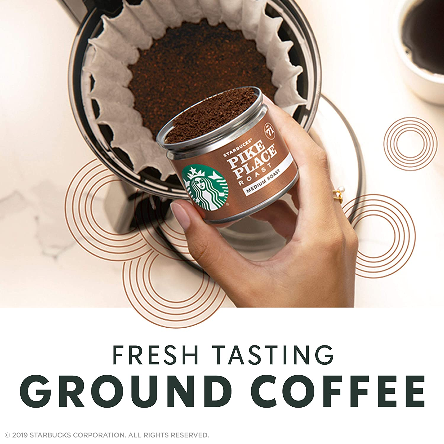 Starbucks Fresh Brew Ground Coffee Cans Variety Pack | Breakfast Blend & Pike Place Roast, Medium Roasts | Pre-portioned Recyclable Can | 16 Count