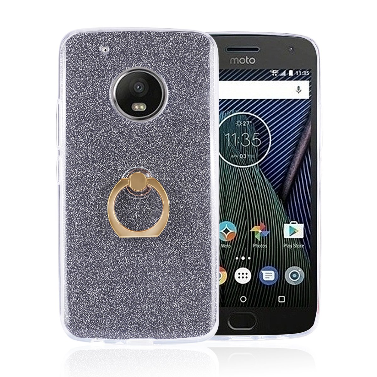 Moto G5 Plus Case, Funluna Bling Glitter Sparkle Cover Shockproof Soft TPU  Silicone Gel Back Case Protective Shell Skin with Ring Grip Stand for