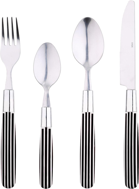 Renberg Fun Stripes Set de Cubiertos, Acero Inoxidable, Negro, 31.5 x 21.5 x 4.5 cm, 24 Unidades: Amazon.es: Hogar