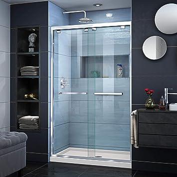 DreamLine dl-7008 C-22 – 01 Encore 32 en. D x 48 en. W semi-frameless Bypass para mampara de ducha centro desagüe para galletas Base acrílica), color cromado: Amazon.es: Bricolaje y herramientas