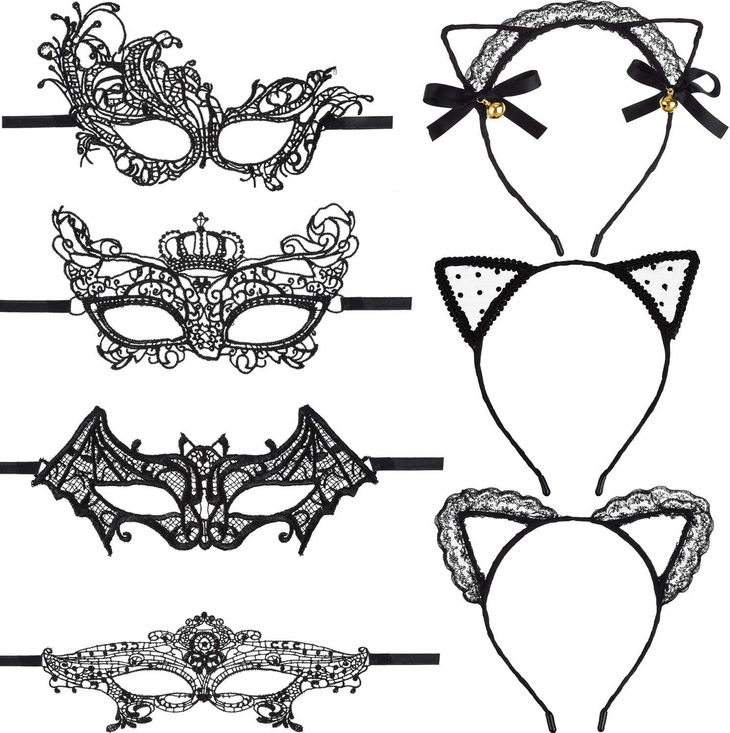 Boao 8 Pieces Masquerade Lace Eye Mask and Cat Ears Headband for Halloween Venetian Carnival Party Costume Ball, Black