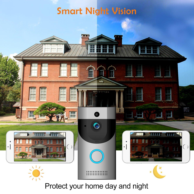 Timbre de video Timbre Inteligente 720P HD Wifi C/ámara de seguridad Bulit en almacenamiento de memoria 32G control de aplicaciones para iOS y Android con carill/ón y bater/ía