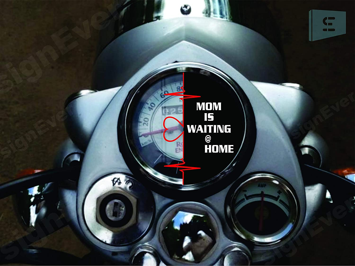 Signever mom is waiting at home standard bike sticker for royal enfield classic 350 500 for meeter tank decals l x h 5 00 x 7 00 cm black white