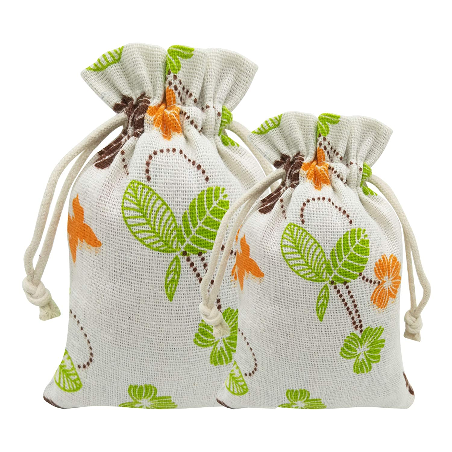 Leaves 5 X 7 Wedding Party Gift Bags Jewellery Bags 15 Pcs Burlap Bags with Drawstring