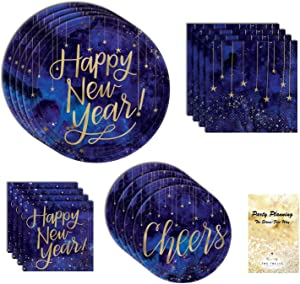 New Years Eve Party Supplies, Gold and Midnight Blue Metallic Design, Disposable Paper Dinnerware, Plate and Napkin Set, 16 Guests, 64 Pieces