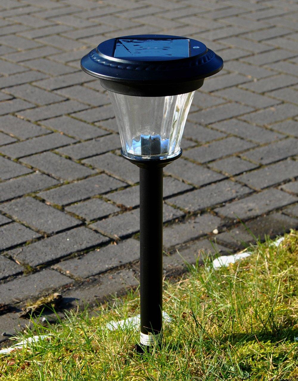 3 x Maximus LED Solar Wegeleuchte Bewegungsmelder GLAS METALL Gartenlicht Solarleuchte