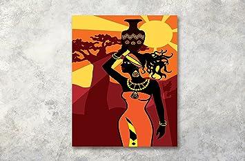 LB Femme Noir Orange Jaune Coucher de Soleil Image Impression sur ...