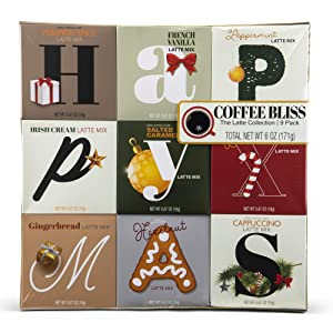 Thoughtfully Gifts, Holiday Latte Variety Gift Set with 9 Different Seasonal Coffee Flavors Including Gingerbread, Peppermint, Mint Mocha, and More