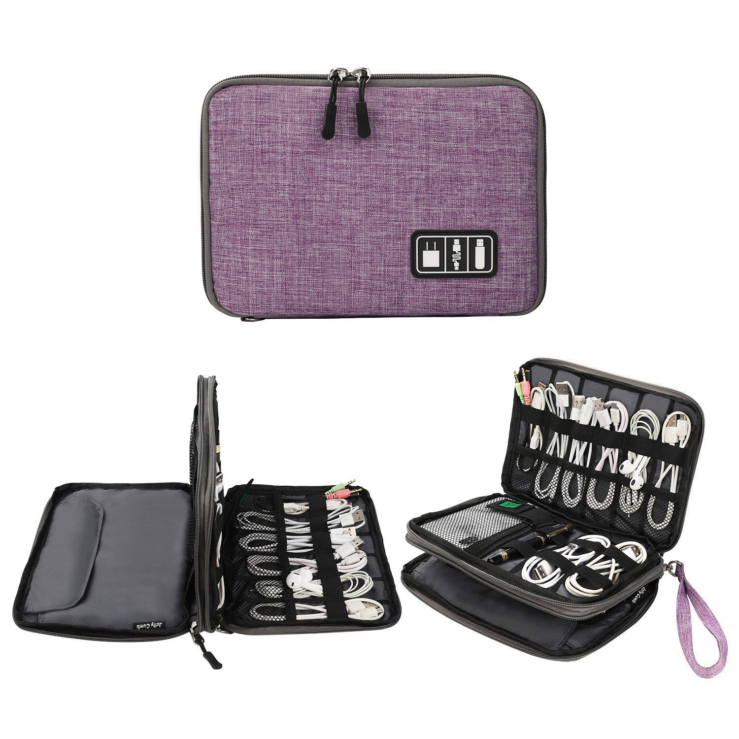 Electronics Organizer, Jelly Comb Electronic Accessories Cable Organizer Bag Waterproof Travel Cable Storage Bag for Charging Cable, Cellphone, Mini Tablet and More (Purple and Gray)